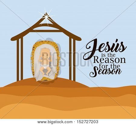 House and baby jesus icon. Holy family and merry christmas season theme. Colorful design. Vector illustration