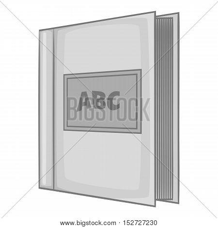 ABC book icon. Gray monochrome illustration of ABC bookvector icon for web