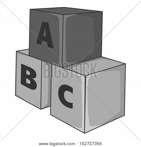 Baby cubes icon. Gray monochrome illustration of baby cubes vector icon for web
