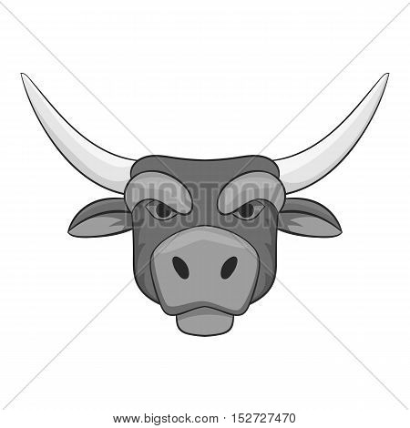 Bull head icon. Gray monochrome illustration of bull head vector icon for web