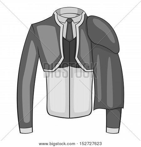 Costume of toreador icon. Gray monochrome illustration of costume of toreador vector icon for web