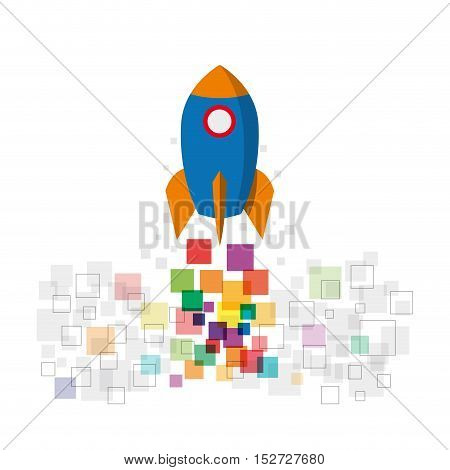 Concept of startup. Digital rocket. Isolated illustration