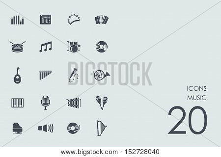 music vector set of modern simple icons