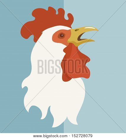 Flat image of white rooster with open beak. Isolated color vector illustration. Symbol of new year 2017.