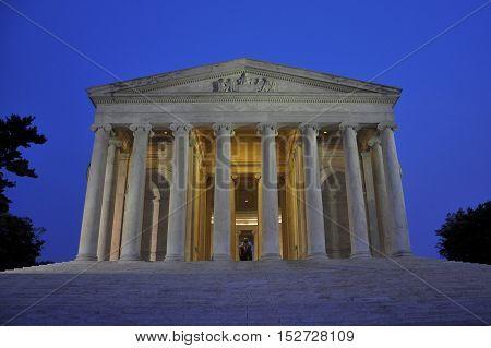 Thomas Jefferson Memorial at night, Washington DC, USA.