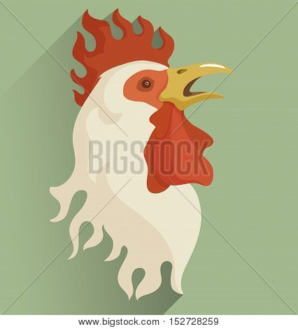 Head of white rooster with flame styled crest and open beak. Isolated color vector illustration. Symbol of new year 2017.