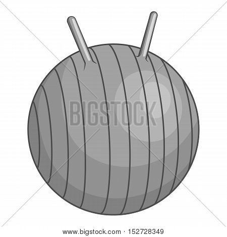 Fitball icon. Gray monochrome illustration of fitball vector icon for web
