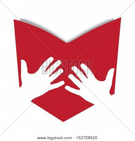 Vector sign abstract open book with hands