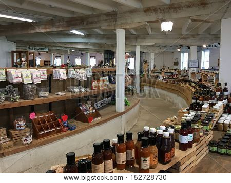 Gettysburg PA - October 16: interior of the Historic Round Barn and Farm Market. The barn is one of a few still standing today.