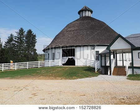 Gettysburg PA - October 16: exterior of the Historic Round Barn and Farm Market. The barn is one of a few still standing today.
