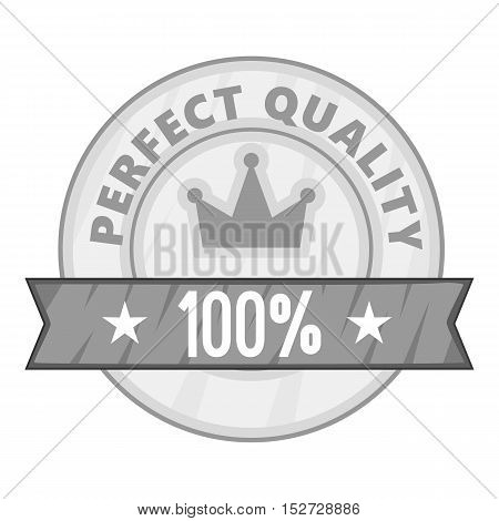 Label perfect quality one hundred percent icon. Gray monochrome illustration of label perfect quality one hundred percent vector icon for web