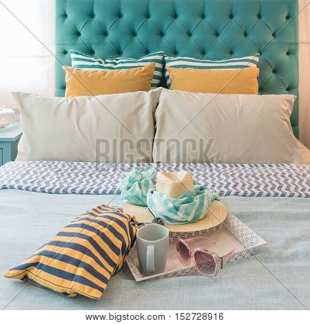 Modern Colorful Bedroom Design With Sunglass, Hat, Coffee Cup
