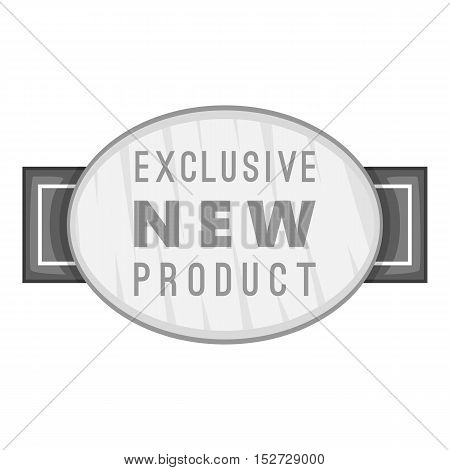 Label exclusive new product icon. Gray monochrome illustration of label exclusive new product vector icon for web