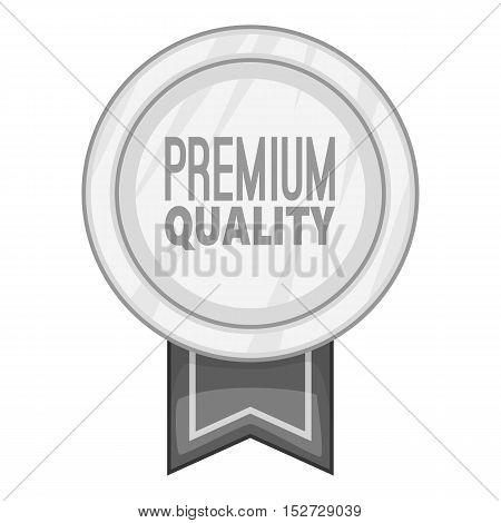 Label round premium quality icon. Gray monochrome illustration of label round premium quality vector icon for web