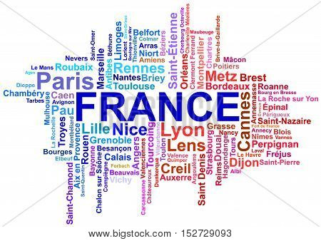 Vector French cities in confusion, isolated illustration