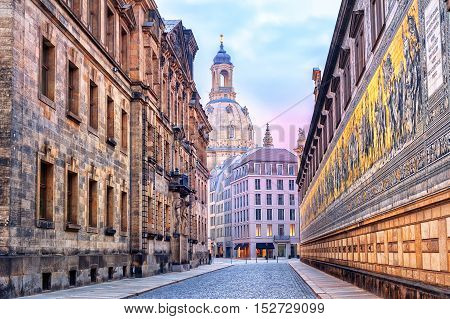 Dresden, Germany, Mosaic Wall And Frauenkirche Cathedral In Background