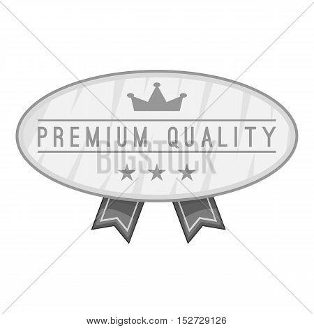Label premium quality icon. Gray monochrome illustration of label premium quality vector icon for web