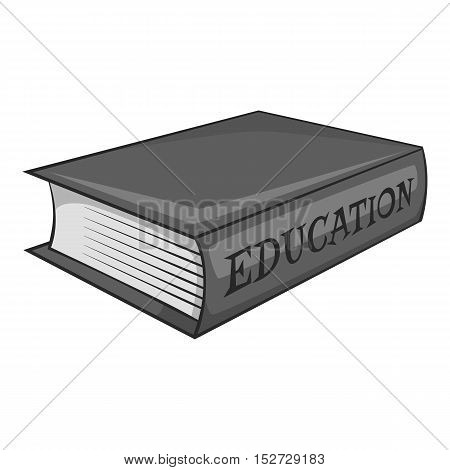 Education book icon. Gray monochrome illustration of education book vector icon for web