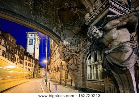 Night Scene In The Old Town Of Frankfurt Main, Germany