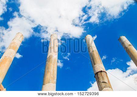 Four columns of Venus temple next to Via Sacra in Rome, Italy