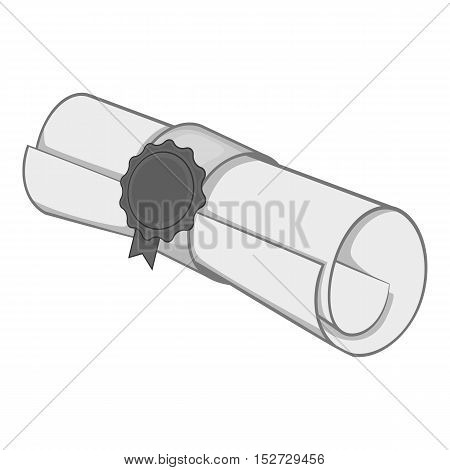 Paper scroll icon. Gray monochrome illustration of paper scroll vector icon for web