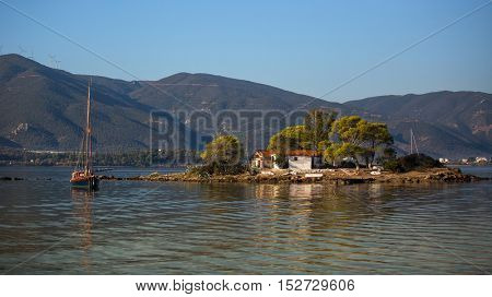 A small island in the Russian Bay of the Aegean sea.