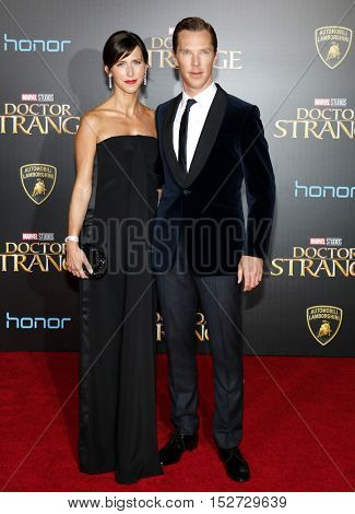 Benedict Cumberbatch and Sophie Hunter at the World premiere of 'Doctor Strange' held at the El Capitan Theatre in Hollywood, USA on October 20, 2016.