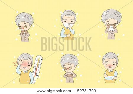 cartoon old people catch a cold great for your design