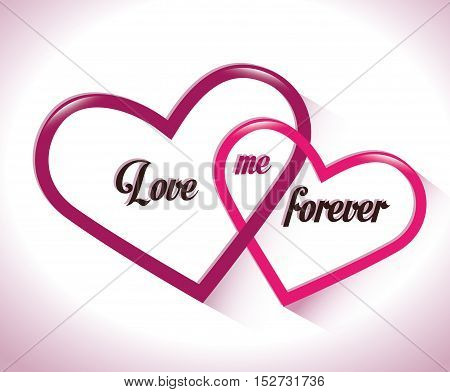 two intertwined hearts love me forever vector illustration eps 10