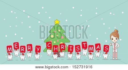 christmas and snow with cute cartoon tooth and woman dentist with whiten