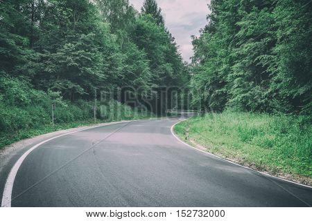 good road in summer forest, toned like Instagram filter