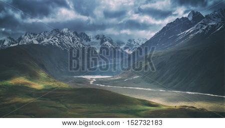 himalayas mountain and river in summer time, toned like Instagram filter