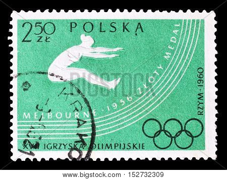 POLAND - CIRCA 1956 : Cancelled postage stamp printed by Poland, that shows Long jump.
