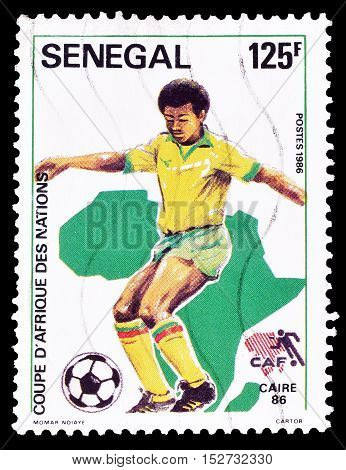 SENEGAL - CIRCA 1986 : Cancelled postage stamp printed by Senegal, that shows Football.
