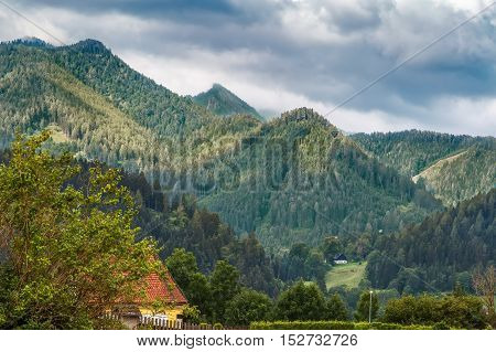 view of mountains from Mariazell styria Austria