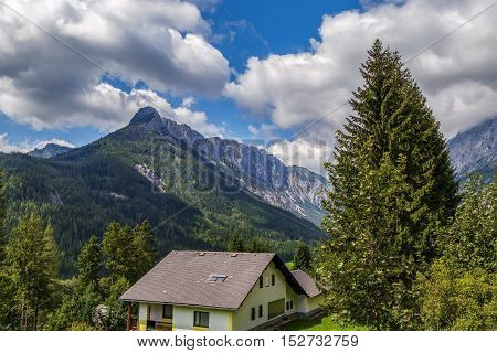 view of Alps mountains in central Styria Austria