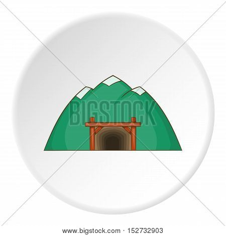 Mine in mountain icon. Cartoon illustration of mine in mountain vector icon for web