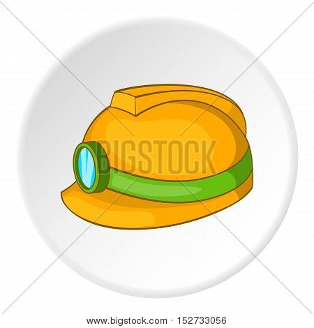 Helmet with light icon. Cartoon illustration of helmet with light vector icon for web