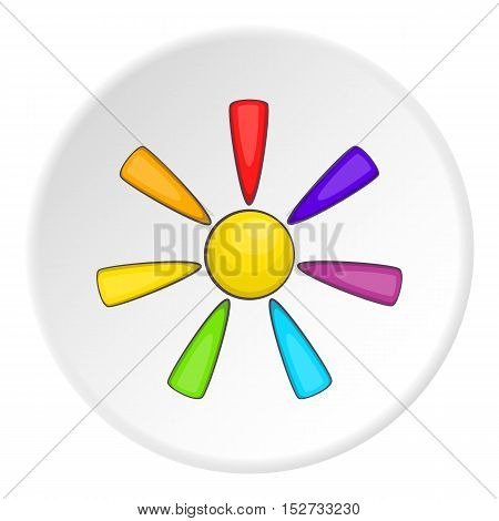 Sun in colours of LGBT icon. Cartoon illustration of sun in colours of LGBT vector icon for web