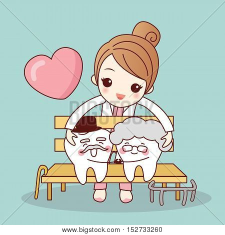 Happy cartoon old tooth couple hug together great for health dental care concept