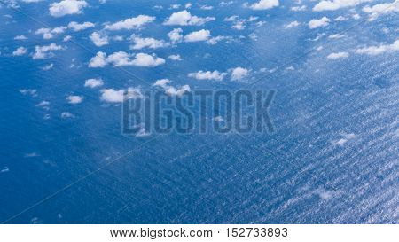 Scene of blue Seascape view from sky