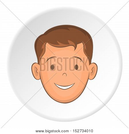 Male face with haircut icon. Cartoon illustration of male face with haircut vector icon for web