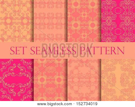 Set Of Seamless Pattern In Retro Style Of The Baroque. Victorian Seamless Pattern. Classic Designs.