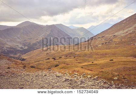 Beautiful mountain landscape. Mountain valley in the autumn scenery in High Tatra Slovakia.