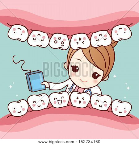 cute cartoon dentist doctor use floss to clean tooth great for health dental care concept