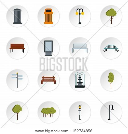 Park icons set. Flat illustration of 16 park vector icons for web