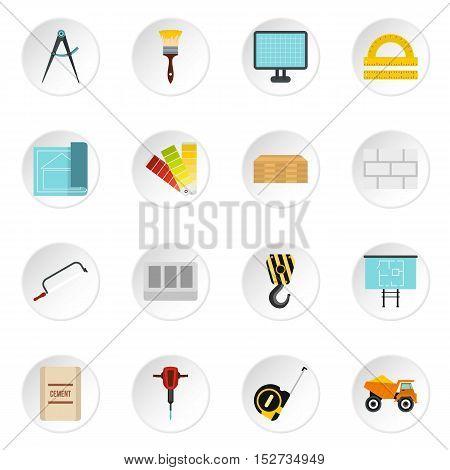 Building equipment icons set. Flat illustration of 16 building equipment vector icons for web