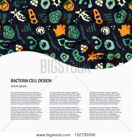 Vector background with bacterial cells virus and germs. Hand drawn medical background with text. Perfect for an article in a magazine .