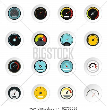Speedometer icons set. Flat illustration of 16 speedometer vector icons for web