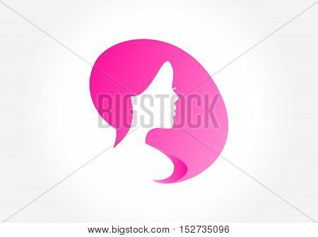 Beautiful woman silhouette. Creative symbol for your business